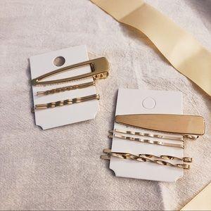 Minimalist Gold Triangle Hair Clip Set